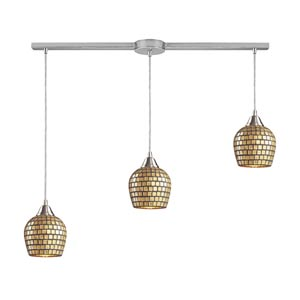 Fusion Satin Nickel Three-Light Mini Pendant with Gold Mosaic Glass