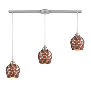 Fusion Satin Nickel Three-Light Mini Pendant with Multi Mosaic Glass