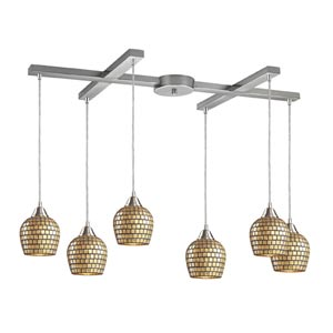 Fusion Satin Nickel Six-Light Mini Pendant with Gold Mosaic Glass