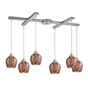 Fusion Satin Nickel Six-Light Mini Pendant with Multi Mosaic Glass