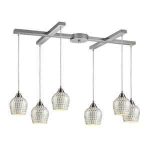 Fusion Satin Nickel Six-Light Mini Pendant with Silver Mosaic Glass