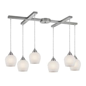 Fusion Satin Nickel Six-Light Mini Pendant with Copper White Glass