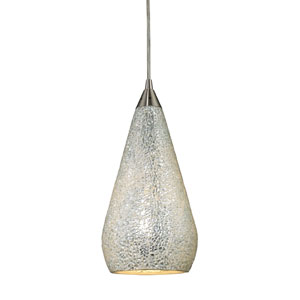 Curvalo One Light LED Pendant In Satin Nickel With Silver Crackle