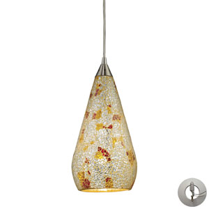 Curvalo One Light Pendant In Satin Nickel With Silver Multi-Colored Crackle Includes w/ An Adapter Kit