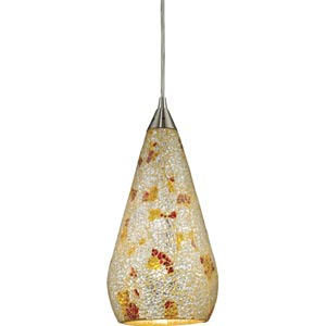 Curvalo Satin Nickel Mini Pendant with Silver Multicolored Crackle