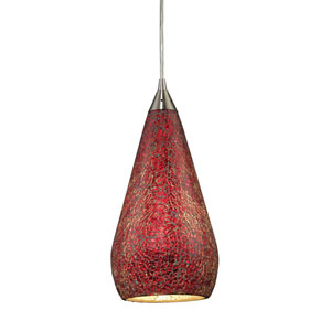 Curvalo Satin Nickel Mini Pendant with Ruby Crackle