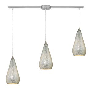 Curvalo Satin Nickel Three-Light Mini Pendant with Silver Crackle Glass