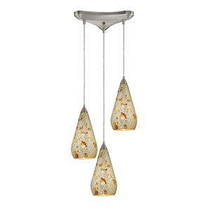 Curvalo Satin Nickel Three-Light Mini Pendant with Silver Multi Crackle Glass