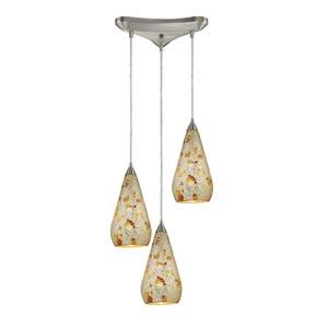 Curvalo Satin Nickel Three-Light Mini Pendant with Silver Multi Crackle Glass
