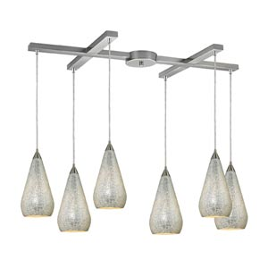 Curvalo Satin Nickel Six-Light Mini Pendant with Silver Crackle Glass