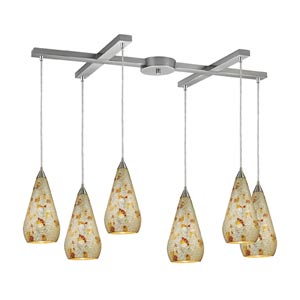Curvalo Satin Nickel Six-Light Mini Pendant with Silver Multi Crackle Glass