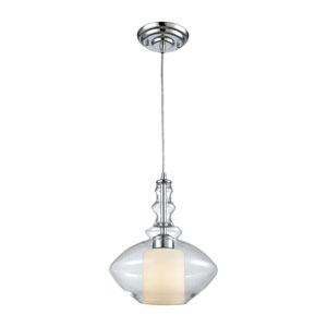 Alora Polished Chrome One-Light Pendant with Opal White and Clear Glass