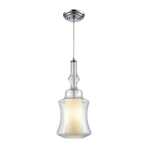 Alora Polished Chrome One-Light Mini Pendant with Opal White and Clear Glass