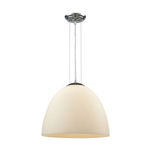 Merida Polished Chrome 15-Inch One-Light Pendant with White Linen Glass