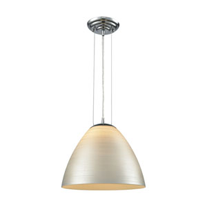 Merida Polished Chrome 12-Inch One-Light Pendant with Silver Linen Glass