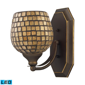 Vanity One Light LED Bath Fixture In Aged Bronze And Gold Mosaic Glass