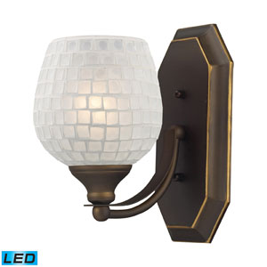 Vanity One Light LED Bath Fixture In Aged Bronze And White Mosaic Glass