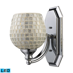 Vanity One Light LED Bath Fixture In Polished Chrome And Silver Mosaic Glass