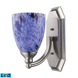 Vanity One Light LED Bath Fixture In Satin Nickel And Starburst Blue Glass