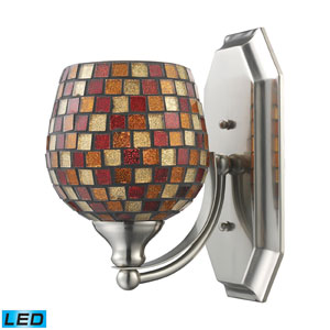 Vanity One Light LED Bath Fixture In Satin Nickel And Multi Mosaic Glass