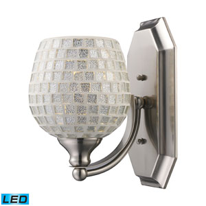 Vanity One Light LED Bath Fixture In Satin Nickel And Silver Mosaic Glass