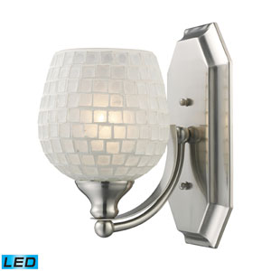 Vanity One Light LED Bath Fixture In Satin Nickel And White Mosaic Glass