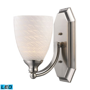One Light Led Bath Fixture In Satin Nickel And White Swirl Glass