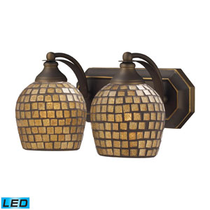 Vanity Two Light LED Bath Fixture In Aged Bronze And Gold Mosaic Glass