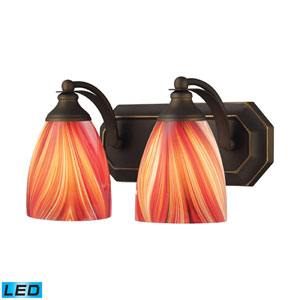 Vanity Two Light LED Bath Fixture In Aged Bronze And Multi Glass
