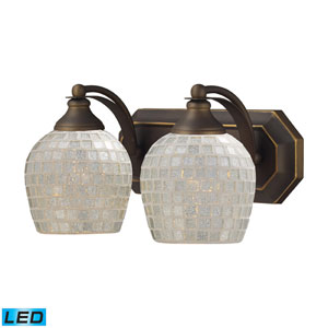 Vanity Two Light LED Bath Fixture In Aged Bronze And Silver Mosaic Glass