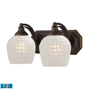 Vanity Two Light LED Bath Fixture In Aged Bronze And White Mosaic Glass