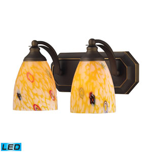 Vanity Two Light LED Bath Fixture In Aged Bronze And Yellow Blaze Glass