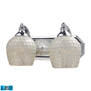Vanity Two Light LED Bath Fixture In Polished Chrome And Silver Mosaic Glass