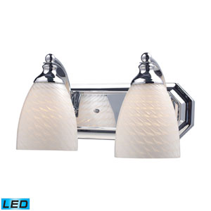 Vanity Two Light LED Bath Fixture In Polished Chrome And White Swirl Glass