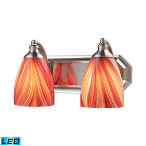 Vanity Two Light LED Bath Fixture In Satin Nickel And Multi Glass