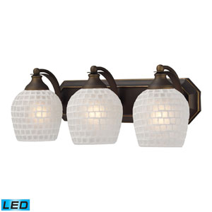 Vanity Three Light LED Bath Fixture In Aged Bronze And White Mosaic Glass