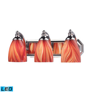 Vanity Three Light LED Bath Fixture In Polished Chrome And Multi-Colored Glass