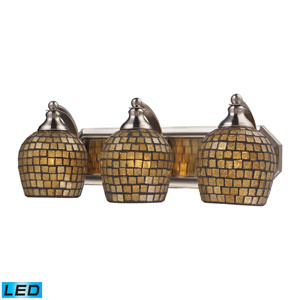 Vanity Three Light LED Bath Fixture In Satin Nickel And Gold Mosaic Glass