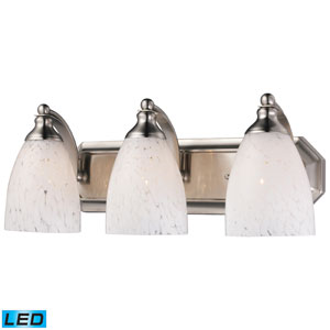 Three Light Led Bath Fixture In Satin Nickel And Snow White Glass
