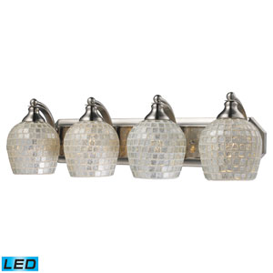 Vanity Four Light LED Bath Fixture In Satin Nickel And Silver Mosaic Glass