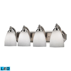 Vanity Four Light LED Bath Fixture In Satin Nickel And Simply White Glass