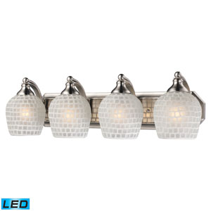 Vanity Four Light LED Bath Fixture In Satin Nickel And White Mosaic Glass