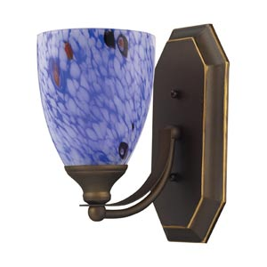 Aged Bronze One-Light Bath Light with Starburst Blue Glass