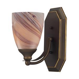Aged Bronze One-Light Bath Light with Creme Glass