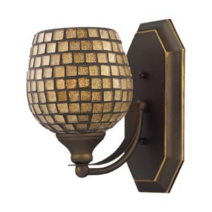 Gold Mosaic Aged Bronze One-Light Bath Fixture