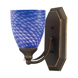 Aged Bronze One-Light Bath Light with Sapphire Glass