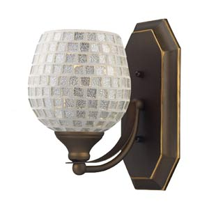 Silver Mosaic Aged Bronze One-Light Bath Fixture