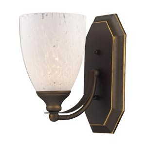 Aged Bronze One-Light Bath Light with Snow White Glass