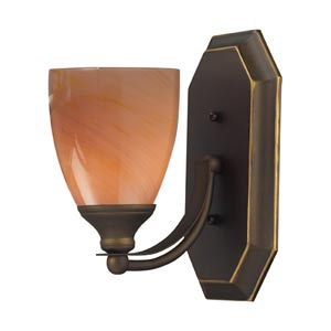 Aged Bronze One-Light Bath Light with Sandy Glass