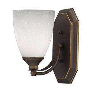 Aged Bronze One-Light Bath Light with Simply White Glass